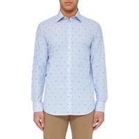 Long Sleeved Patterned Shirt Blue
