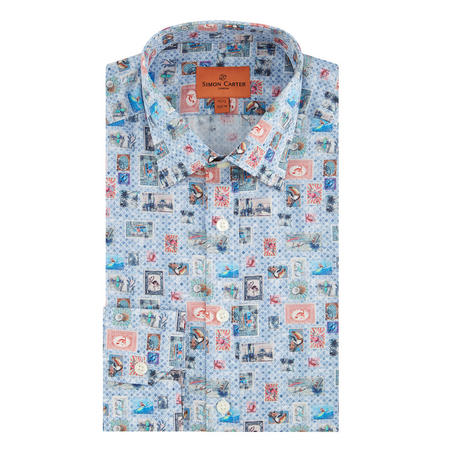 Stamp Print Formal Shirt Blue