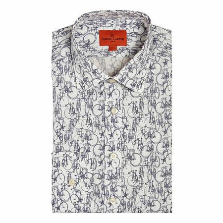 Bicycle Print Shirt White