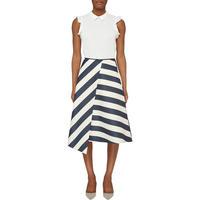 Asymmetrical Chevron Stripe Skirt Multicolour