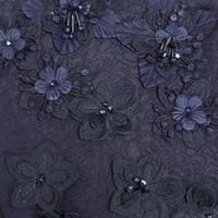 Floral Detail Coat Navy
