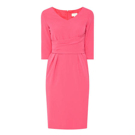 Gathered Belted V-Neck Dress Pink
