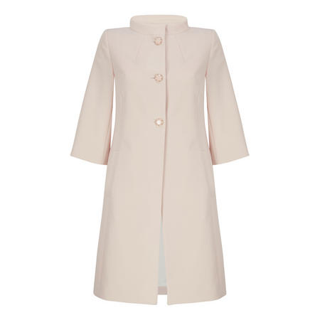 3/4 Sleeve A-Line Coat Pink