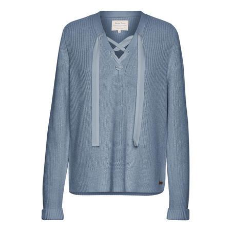 Kora Lace-Up Sweater Blue