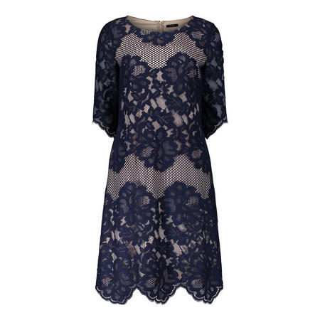 Floral Lace A-Line Dress Navy