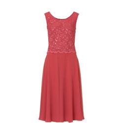 Lace Bodice A-Line Dress Pink