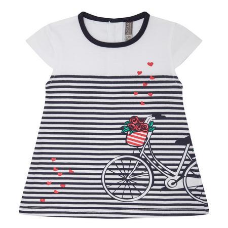 Babies Stripe & Bike Dress Navy
