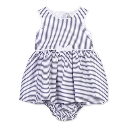 Babies Stripe Bow Detail Dress Blue