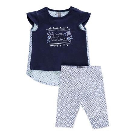 Babies Patterned T-Shirt And Leggings Set Blue