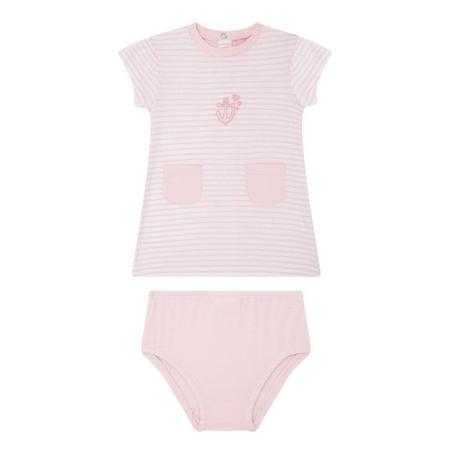 Babies Striped Anchor Dress Pink