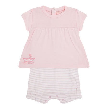 Babies Two-Piece Striped Romper Pink