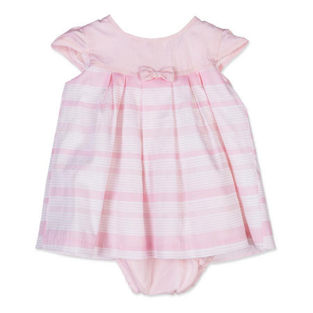 Babies Pleated Stripe Bow Dress Pink
