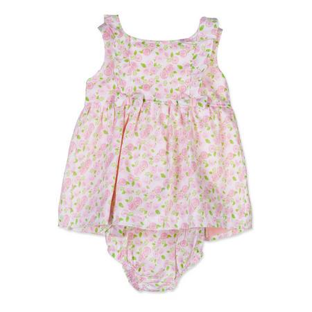 Babies Rose Print Sleeveless Dress Pink