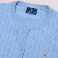 Slim Fit Cable Knit Cardigan Blue