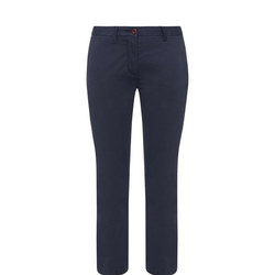 Cropped Chino Trousers Navy