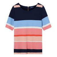 Half Sleeve Block Stripe Top Multicolour