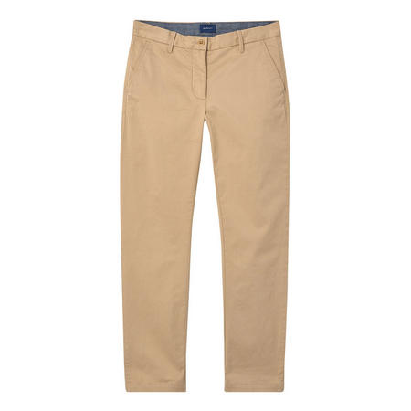 Cropped Chino Trousers Beige