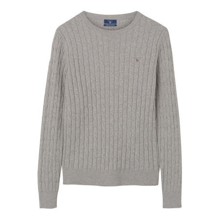 Cable Knit Crew Neck Sweater Grey