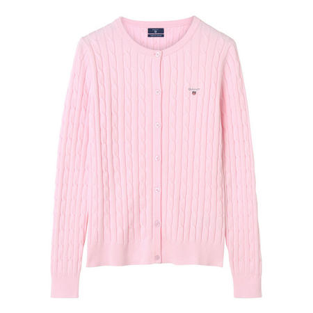 Slim Fit Cable Knit Cardigan Pink