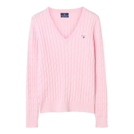 Cable Knit V-Neck Sweater Pink