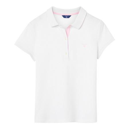 Contrast Collar Pique Polo Shirt White