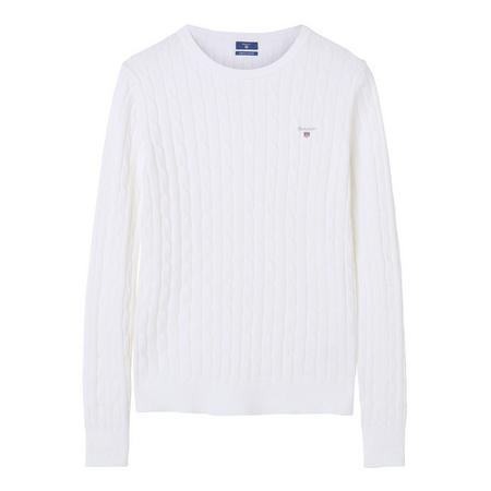 Cable Knit Crew Neck Sweater White