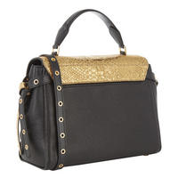 Bristol Metallic Embossed Leather Satchel Bag Black