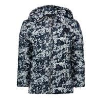 Floral Zip Front Jacket Navy