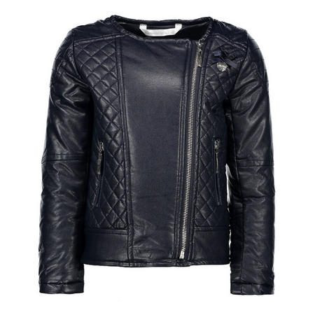Quilted Leather Biker Jacket Navy