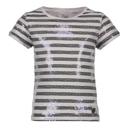 Sequin Stripe T-Shirt White