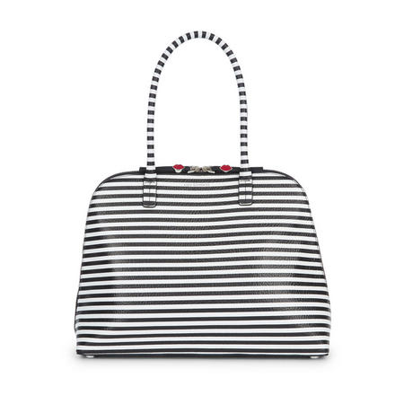 Stripe Large Bobbi Shoulder Bag Black