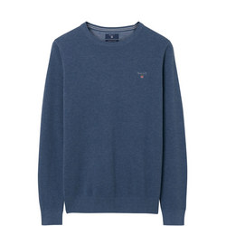 Pique Crew Neck Sweater Blue