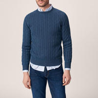 Sunbleached Cable Knit Jumper Blue