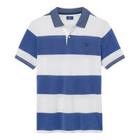 Block Stripe Rugby Polo Shirt Blue