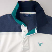 Long Sleeve Striped Polo Shirt Blue