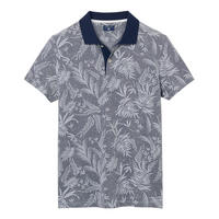 Leaf Print Polo Shirt Blue