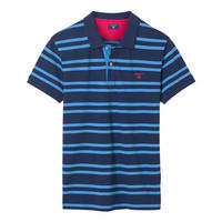 Contrast Stripe Polo Shirt Blue
