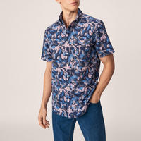 Airy Leaves Short Sleeve Shirt Blue