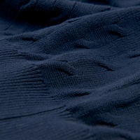 Cable Knit Rugby Shirt Blue