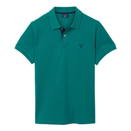 Contrast Colour Polo Shirt Green