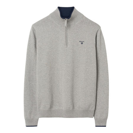 Cotton Contrast Half Zip Jumper Grey
