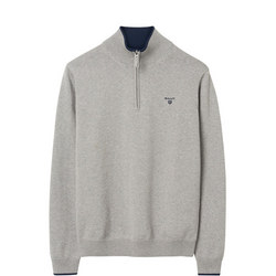 Cotton Contrast Half Zip Jumper Grey