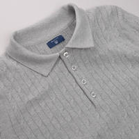 Cable Knit Rugby Shirt Grey