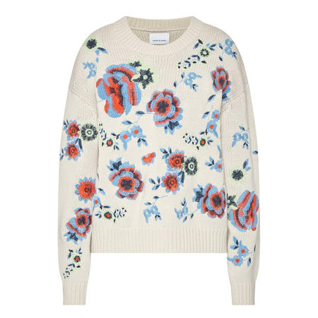Embroidered Floral Sweater Cream