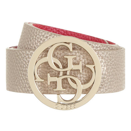 Logo Grained Belt Metallic