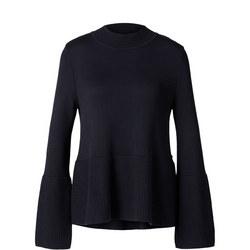 Bell Sleeve High Neck Sweater Navy
