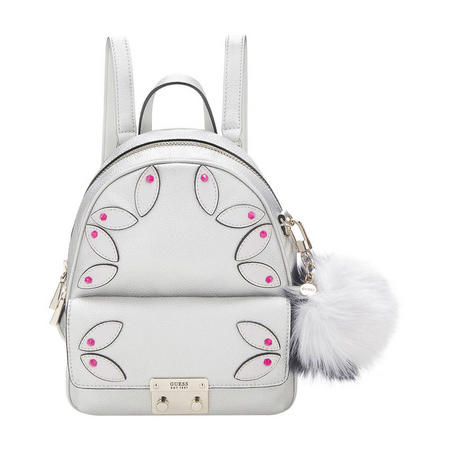 Applique Embellished Small Backpack Silver-Tone