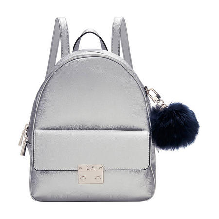 Pom Pom Small Backpack Silver-Tone