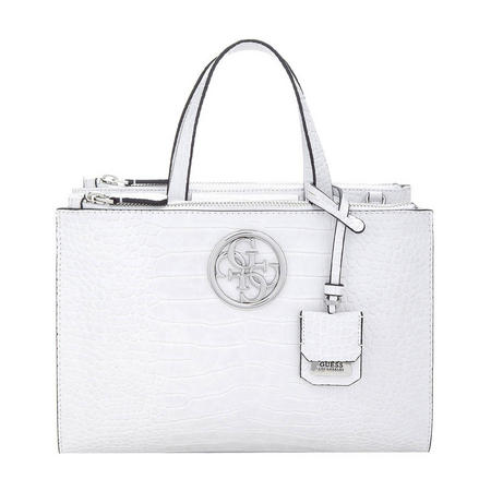 Snake Print Satchel Bag White