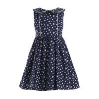 Heart Print Sleeveless Dress Navy